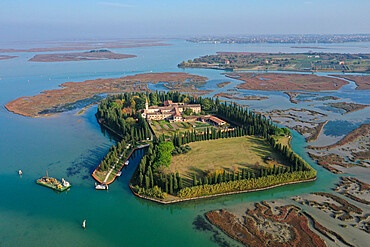 Aerial view of San Francesco del Deserto, Venice Lagoon, Veneto, Italy, Europe