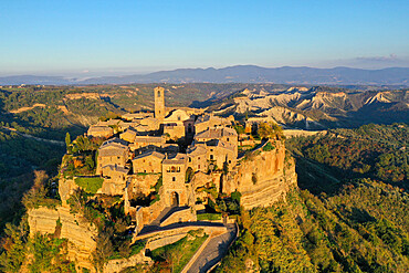 Aerial view of Civita di Bagnoregio village, known as the dying city, Viterbo province, Lazio, Italy, Europe (drone)