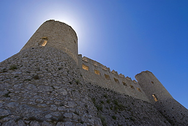 Rocca Calascio, ruined mountaintop fortress in the Province of L'Aquila, Abruzzo, Italy, Europe