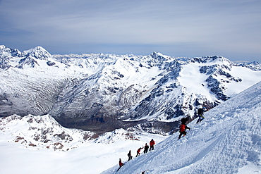Ski touring in the Alps, ascent to Punta San Matteo, on the border of Lombardia and Trentino-Alto Adige, Italy, Europe