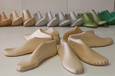 Wood and plastic models at Cercal footwear school, San Mauro Pascoli, Emilia-Romagna, Italy, Europe