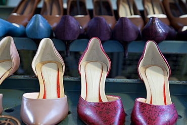 Shoe models at the pattern making laboratory at Cercal footwear school, San Mauro Pascoli, Emilia-Romagna, Italy, Europe