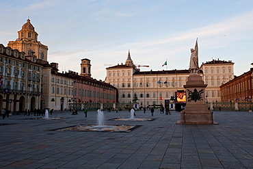 Piazza Castello, the main square in Turin, surrounded by Palazzo Madama and Palazzo Reale, Turin, Piedmont, Italy, Europe