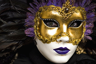 Mask at Venice Carnival, Venice, Veneto, Italy, Europe