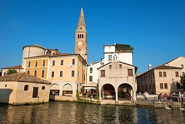 The river port and the oratory of the Madonna della Pescheria, Portogruaro, Veneto, Italy, Europe