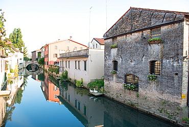 Lemene River runs through the town of Portogruaro, Veneto, Italy, Europe