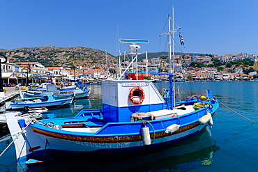 Boats moored in Pythagorio port, Samos Island, North Aegean Islands, Greek Islands, Greece, Europe