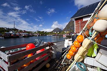 The fishing harbour of Sorvagen, Moskenesoy island, Lofoten archipelago, Nordland county, Norway, Scandinavia, Europe