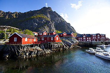 Rorbuer (fishermen's cabins), nowadays rented to tourists, at A village, Moskenesoy island, Lofoten archipelago, Nordland county, Norway, Scandinavia, Europe