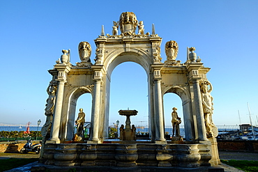 The Fontana del Gigante (Immacolatella) (Fountain of the Giant), a monumental fountain in Naples, Campania, Italy, Europe