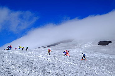 Ski mountaineering on Mount Etna, UNESCO World Heritage Site, Catania, Sicily, Italy, Europe