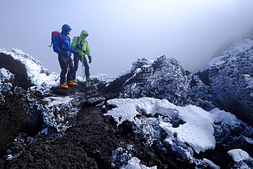 Reaching the crater rim of Mount Etna, UNESCO World Heritage Site, Catania, Sicily, Italy, Europe