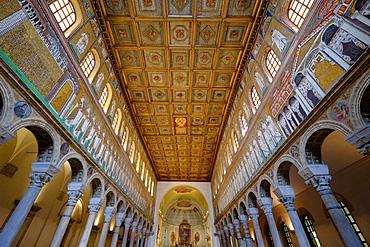 The Basilica of Sant'Apollinare Nuovo, a basilica church in Ravenna, Emilia-Romagna, Italy, Europe
