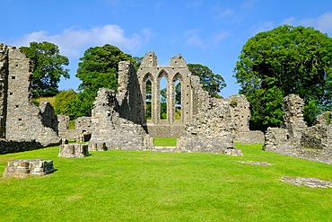 Inch Abbey, a large, ruined monastic site, Downpatrick, County Down, Ulster, Northern Ireland, United Kingdom, Europe