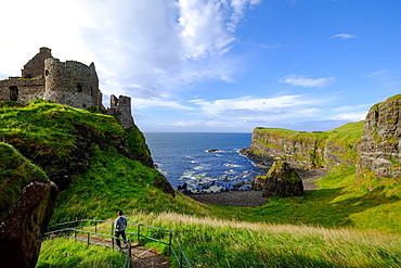 Dunluce Castle, located on the edge of a basalt outcrop in County Antrim, Ulster, Northern Ireland, United Kingdom, Europe