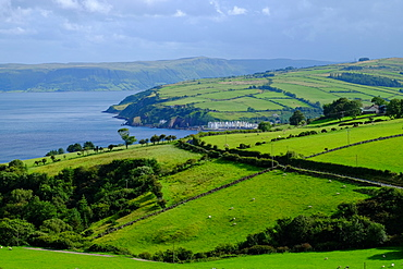 Pastures and fields and the little village of Cushendun, Antrim County, Ulster, Northern Ireland, United Kingdom, Europe
