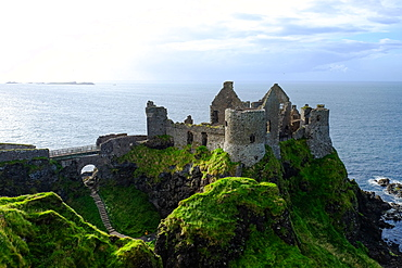 Dunluce Castle, located on the edge of a basalt outcropping in County Antrim, Ulster, Northern Ireland, United Kingdom, Europe - 819-853