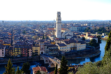 Panoramic view of Verona from Castel San Pietro, Verona, Veneto, Italy, Europe