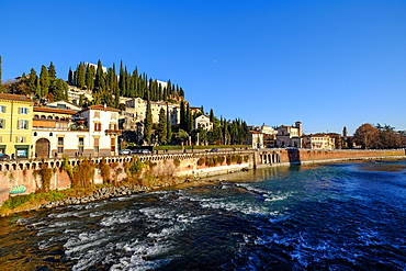 Castel San Pietro and Adige River, Verona, Veneto, Italy, Europe