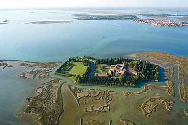 View of San Francesco del Deserto island from the helicopter, Venice Lagoon, UNESCO World Heritage Site, Veneto, Italy, Europe