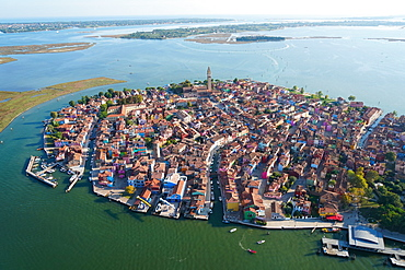 View of Burano island from the helicopter, Venice Lagoon, UNESCO World Heritage Site, Veneto, Italy, Europe