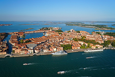View of the Arsenale of Venice from the helicopter, Venice Lagoon, UNESCO World Heritage Site, Veneto, Italy, Europe