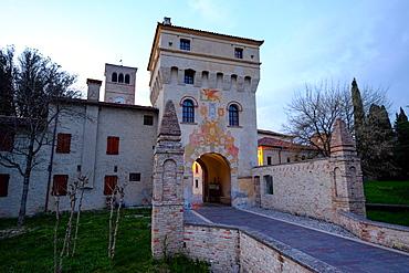 The entrance tower of Abbey of Santa Maria in Sylvis, Sesto al Reghena, Pordenone, Friuli Venezia Giulia, Italy, Europe