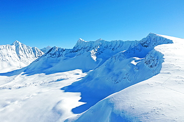 Drone view of Lyngen Alps, Nordlenangen, Lyngen peninsula, Troms County, Norway, Scandinavia, Europe