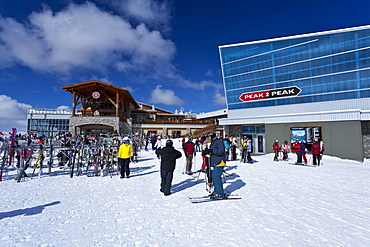 Skiers by the Peak 2 Peak Gondola, Whistler Blackcomb Ski Resort, Whistler, British Columbia, Canada, North America