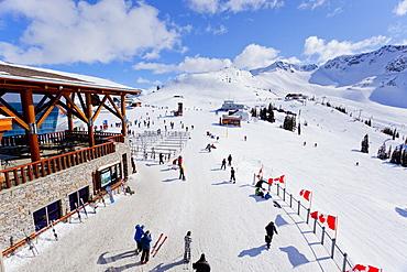 High angle view of Roundhouse, Whistler Blackcomb Ski Resort, Whistler, British Columbia, Canada, North America