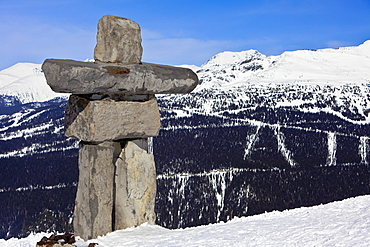 Inukshuk, symbol of friendship and welcome and the 2010 Winter Olympic Games, Whistler Mountain, Whistler Blackcomb Ski Resort, Whistler, British Columbia, Canada, North America