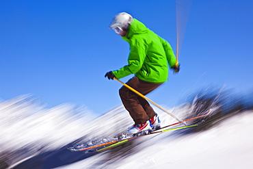 Skier flying off a ramp, Whistler Mountain, Whistler Blackcomb Ski Resort, Whistler, British Columbia, Canada, North America