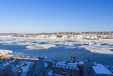 Ferry crossing the St. Lawrence River in winter, Quebec City, Quebec, Canada, North America