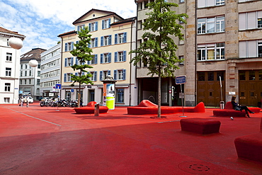 Stadtlounge (City Lounge) by artist Pipilotti Rist and the Carlos Martinez architectural firm, featuring a red polymer surface resembling a carpet that covers everything in its path, with blimp shaped lights, St. Gallen, Switzerland, Europe