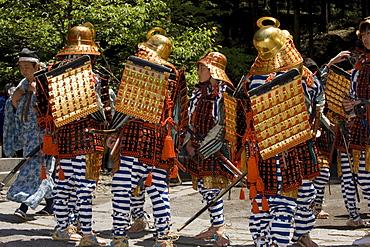 Samurai warriors wearing costumes while participating in the Shunki Reitaisai festival in Nikko, Tochigi, Japan, Asia