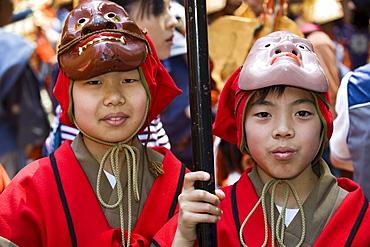 Boys wearing costume while participating in the Shunki Reitaisai festival in Nikko, Tochigi, Japan, Asia