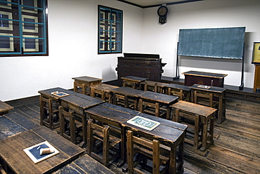 Former Taisha Period Kaichi School, listed as a National Important Cultural Property, in Matsumoto, Japan, Asia