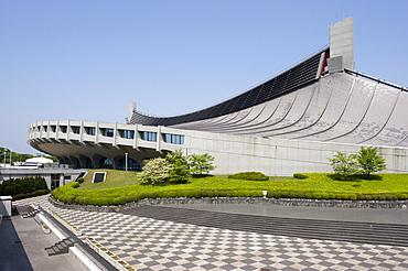 Yoyogi National Stadium in Shibuya, designed by architect Kenzo Tange for the 1964 Summer Olympic Games, Tokyo, Japan, Asia