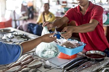 A fishmonger makes a sale in Kudat fish market, Sabah, Malaysian Borneo, Malaysia, Southeast Asia, Asia
