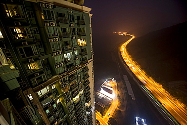 View from a skyscraper of the outskirts of Hong Kong, China, Asia