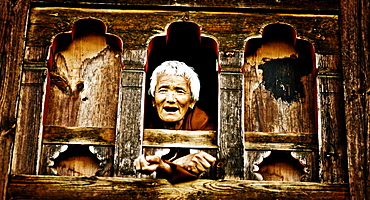 Tsheri Om leans out of her farmhouse window, Phobjika Valley, Bhutan, Asia