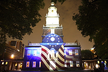 Independence Hall illuminated at night with sound and light show in Philadelphia, Pennsylvania, United States of America, North America