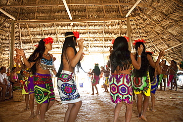 Dance show by Embera indigenous people, Panama, Central America