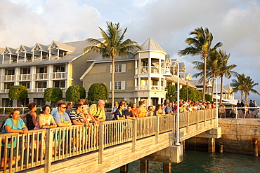 Watching the sunset in Mallory Square, Key West, Florida, United States of America, North America