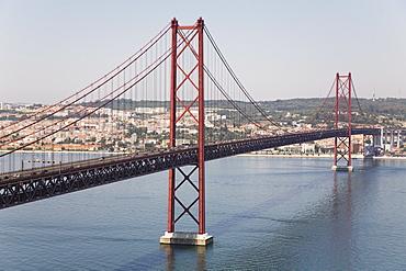 The 25 April Suspension (Ponte 25 de Abril) spans the River Tagus (Rio Tejo) in Lisbon, Portugal, Europe