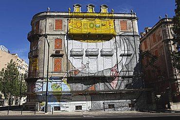 Blu's facade at the Avenida Fontes Pereira de Melo 24, part of the Crono urban art project, Lisbon, Portugal, Europe