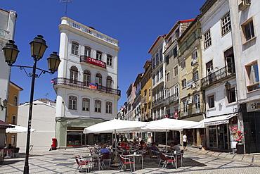An outdoor cafe at the Largo de Portagem public square in Coimbra, Beira Litoral, Portugal, Europe