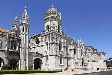 The Heironymites Monastery (Mosteiro dos Jeronimos), Manueline style, UNESCO World Heritage Site, Belem, Lisbon, Portugal, Europe