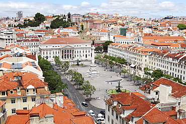 Rossio square (Praca Dom Pedro IV) in the Baixa district centre of Lisbon, Portugal, Europe