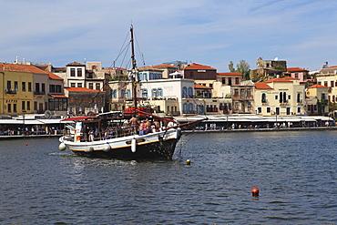 A traditional Cretan boat in the Venetian era harbour at the Mediterranean port of Chania (Canea), Crete, Greek Islands, Greece, Europe